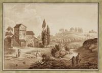 italienische landschaft mit gewässer und staffagefiguren by friedrich christian reinermann