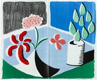 red flowers and green leaves, separate, may by david hockney
