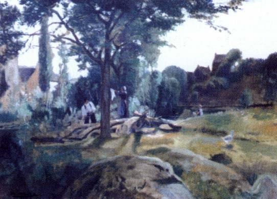 scène de lavandières en bretagne sud by jean abadie