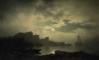 fishing in a moonlit bay by sophus jacobsen