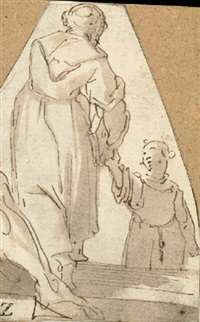 two monks (+ part of a cornucopia, verso) by giovanni battista paggi