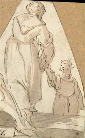 two monks part of a cornucopia verso by giovanni battista paggi