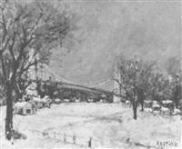 le pont de tancarville sous la neige by joseph raumann