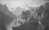 mountainous landscape with figures by e. brown young