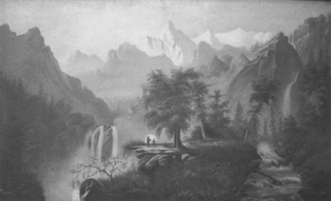 mountainous landscape with figures by e brown young