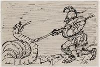 ritter im kampf mit einer riesenschlange by alfred kubin