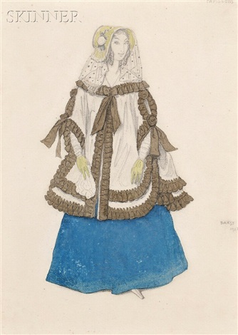 costume design for papillons une dame by leon bakst