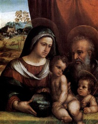 madonna con bambino, san giuseppe e san giovannino by battista (de luteri) dossi