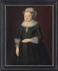 portrait of a girl, aged 8, three-quarter-length, in a dark green, embroidered dress with a lace collar and cuffs, and a lace cap by anglo-dutch school (17)