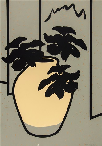 cream glazed pot by patrick caulfield