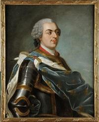 portrait en buste du roi louis xv en cuirasse et grand manteau, portant le grand cordon de l'ordre du saint esprit by maurice quentin de la tour