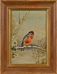winter scenes with songbirds (pair) by ben austrian