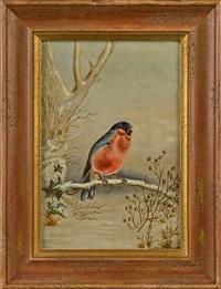 winter scenes with songbirds (pair) by ben austrian