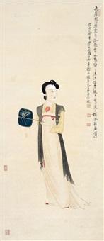执扇仕女 立轴 纸本 by xie zhiliu