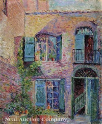 the green shutter, patio on royal street, new orleans by anne wells munger