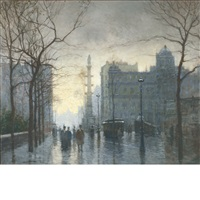 rainy day, columbus circle by paul cornoyer
