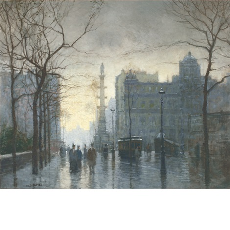 rainy day columbus circle by paul cornoyer