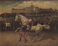 a military parade in north italy with a hussar leading a grey horse by wilhelm emele