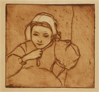 jeune bretonne ajustant sa coiffe by armand seguin