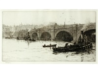 old waterloo bridge from the south bank (+ 4 others; 5 works) by william lionel wyllie