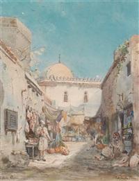 orientalischer hof mit händlern by pierre (henri théodore) tetar van elven