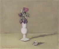 flowers in a white ceramic vase by theo swagemakers