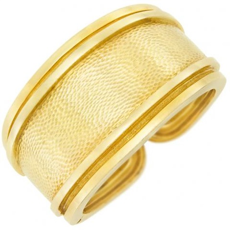 Hammered Gold Cuff Bangle Bracelet By