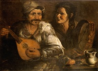 a man and a woman playing a mandolin and a tambourine at a table by jan de herdt