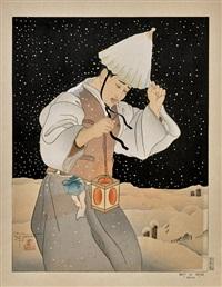 nuit de neige: coree (2 works) by paul jacoulet