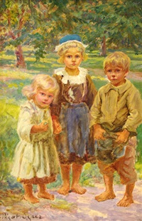 trois enfants bretons by jean bertrand pegot-ogier