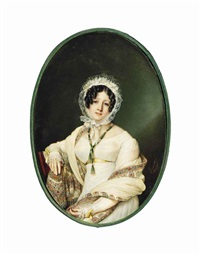 princess louise adélaïde d'orléans (1777-1847), seated on a wooden chair, in white silk dress with lace sleeves and frilled cuffs, yellow sash around waist and tied in bows at cuffs by louis marie autissier