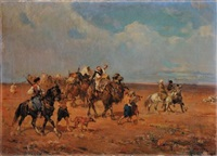 paesaggo con beduini (triptych) by alfredo vaccari