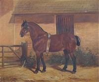 a horse standing by a gate by arthur batt