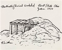 partially buried woodshed, kent state, ohio (from six poems/seven prints) by robert smithson