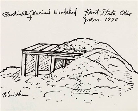 partially buried woodshed kent state ohio from six poemsseven prints by robert smithson