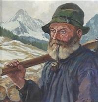 bildnis eines bärtigen bergbauern mit geschulterter axt by karl anneler
