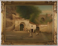village scene by william sartain
