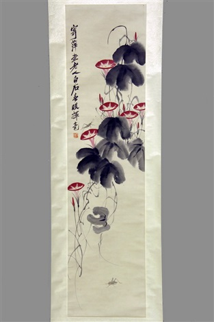 two crickets with morning glories by qi baishi