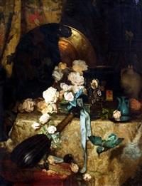 still life of roses and mandolin by julien renevier