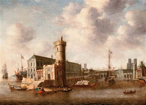 a capriccio with shipping in a bay and a view of the île saint louis and notre dame beyond by abraham beerstraten
