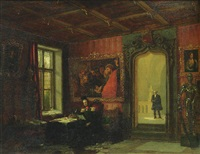 king willem ii of the netherlands seated in his study at the palace kneuterdijk, the hague, with his comptroller victor amadeo trossarello standing in the doorway by augustus wijnantz
