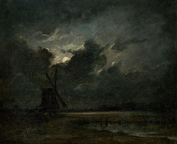 moulin par pleine lune by jules dupré