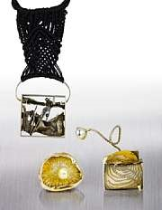 collection of sculptural jewelry comprising five brooches, two pendants and pair of cufflinks by glenda arentzen
