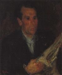 portrait d'homme au journal by eugène ebiche
