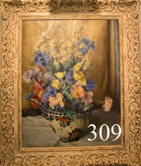floral still life with colorful flowers in a faience pot by john j. a. dixon