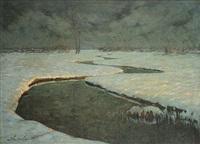 sneeuwlandschap met beek by jules verstreken