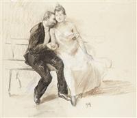 les amoureux, études pour les joies de la vie (study) by alfred roll