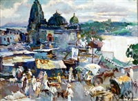 austrian the ganges at benares by walter langhammer