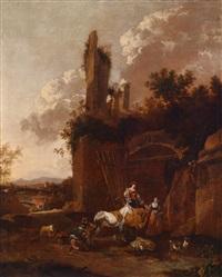 südliche landschaft mit rastenden hirtinnen vor einer in einen stall umgewandelten ruine by johannes van der bent