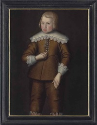 portrait of a boy, three-quarter-length, in a brown doublet and hose, with lace collar and cuffs by anglo-dutch school (17)